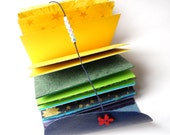 Colour Rainbow Journal - Be Happy Book - Patchwork of Different Coloured Paper Pages in a Top Quality Leather Cover