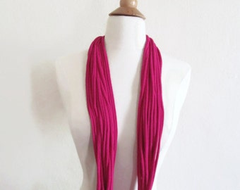 Magenta Dark  Pink Upcycled Recycled Infinity T-shirt Scarf