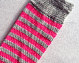 Pink Gray Stripe Baby Legs / Girl Leg Warmers
