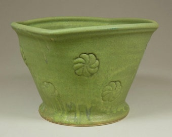 Pewabic Pottery Matte Green Vase, Ceramic, Vintage, with Floral / Pinwheel Design
