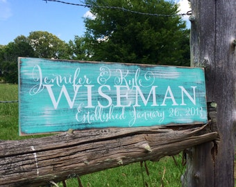 Personalized family sign. Established sign. Family name sign.