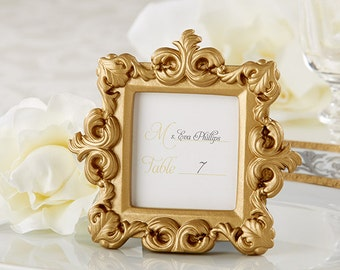 Mini Gold Picture Frames 30 Set - Baroque Small Place Card Holders - Wedding Favors Party Favor Table Number Frame - Victorian Bridal Shower