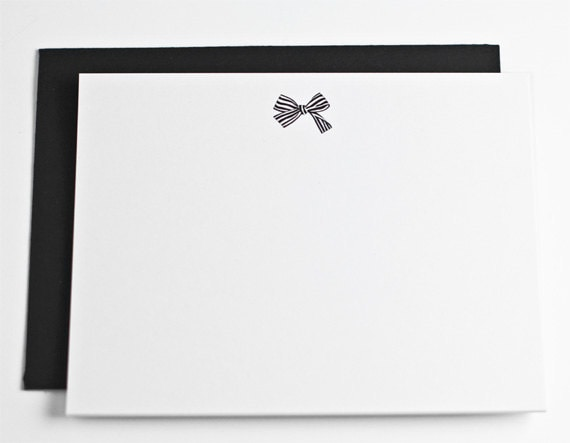 Ultra thick, striped bow stationery set