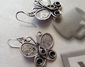 Butterfly Dangle Earrings, Antiqued Silver, Black, Artistic Sparkle Handcrafted Jewelry, Unique, Chistmas Gift, Woman, Teen Girl, lacwe