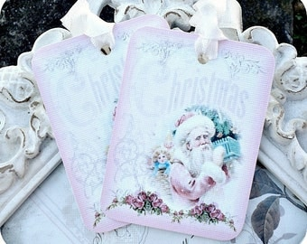 Shabby Pink Santa Tags - Set of 6