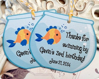 Personalized Fish Party Favor Tags (8) - Fish Party Treat Tags-Goldfish Favor Tags-Fish Birthday-Pool Party-Swimming Party-Fish Bowl Tags