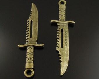 Antiqued Bronze Tone Alloy Knife Charm Pendant Finding 12pcs 38368