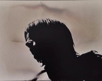 Original Vintage Photograph Interesting Silhouette Young Man