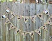 Happy Birthday Polka Dot burlap banner with cupcakes