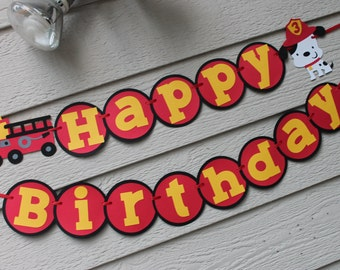 Fire Truck Dalmation Happy Birthday Banner Can Personalize With Name Fire Engine