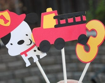 Fire Truck Birthday Cupcake Toppers Dalmation Firefighter Child's Age Fire Engine