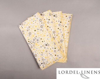 Yellow and Gray Floral Dinner Napkins, Set of 6 Cloth Napkins