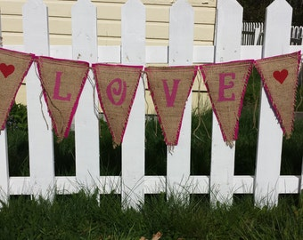 Upcycled LOVE Burlap Banner (with hot pink felt backing) Eco-Friendly Home or Wedding Decor
