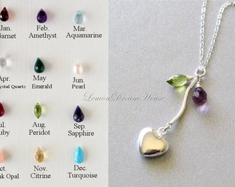 Personalized Necklace, Gemstone Birthstones, Sterling Silver S-Tube and Chain, Silver-filled Puffed Heart Charm. Family. Valentine. N172.