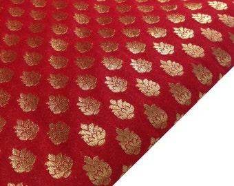 Floral Pattern Brocade / Banaras Silk Fabric in Red Gold - Half Yard Silk Fabric