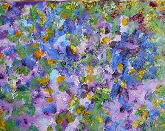 Hydrangea Autumn Oil, Flower Petals Abstract, Purple Impressions Oil, Mini Wall Art, Kathleen Leasure, FromGlenToGlen