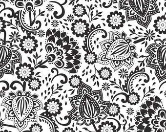 """Black and White Floral Cotton Fabric by Riley Blake Designs """"Evening Blooms"""" 100% cotton"""