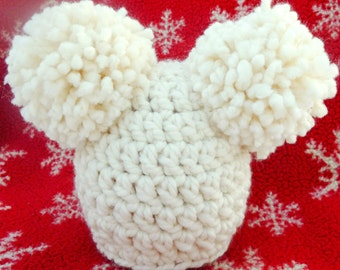 Christmas Sale! Women's Crochet Hat Double Pom Pom Hat in Ivory, Super Chunky Youth Hat, Teen Hat, Wool Blend Hat for Kids and Adults