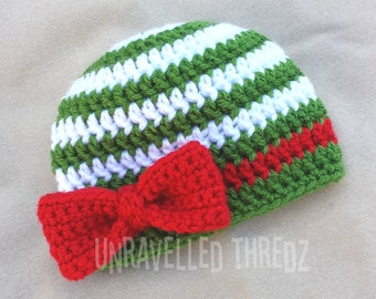 Christmas Newborn Hat, Baby Christmas Hat with Bow, Crochet Baby Bow Hat