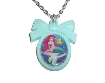 The Little Mermaid Necklace, Ariel Mint Green Cameo Necklace, Flounder, Cute Pastel