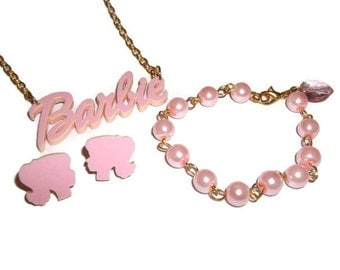 Barbie Jewelry Gift Set, Kawaii Pastel Pink Necklace, Doll Head Earrings and Beaded Bracelet