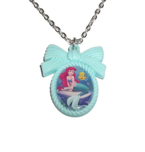 The little mermaid necklace ariel mint green cameo necklace flounder