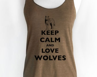 Keep Calm and Love Wolves Soft Tri-Blend Racerback Tank