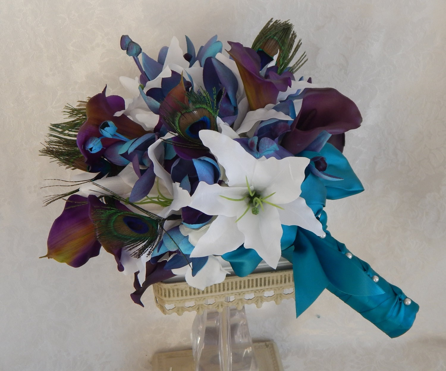 Calla Lily Wedding Bouquet Tiger Lily Bridal Bouquet by 3Mimis