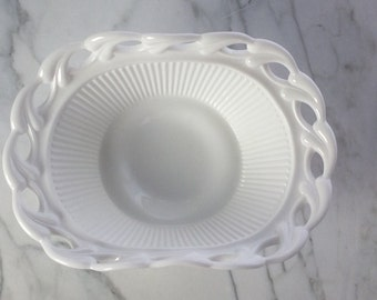 Vintage Milk Glass Oval Footed Bowl
