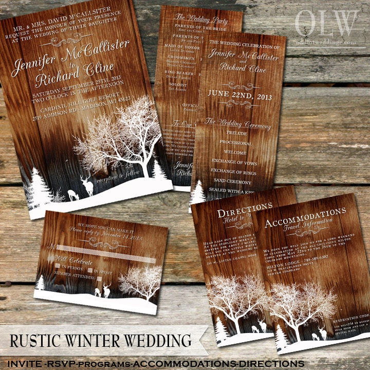 Rustic Winter Wedding Invitations Country Winter Snow