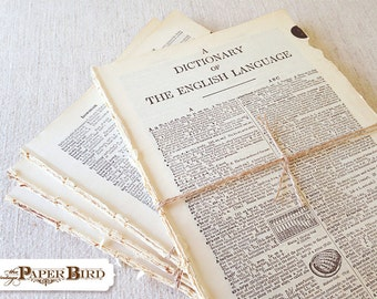 Dictionary Paper 50 pages - paper ephemera - Vintage Craft Supplies