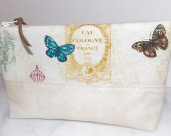 Zipper Pouch - Cosmetic Bag - Eau de Cologne - Butterfly - Tan - Blue - Brown