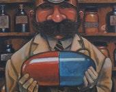 "Dr. M (16x20"" original painting framed)"