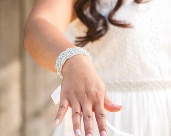 Rhinestone Crystal Wedding Bracelet, Bridal Jeweled Bracelet, Rhinestone Bracelet, Wedding Accessory