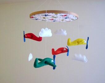 Airplane Felt Mobile, Toy Plane Felt Baby Mobile Wool Felt Baby Mobile for Baby Crib, Kids Playroom or Modern Nursery Decor