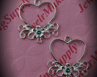 Genuine Silver Plated Swarovski Crystal Heart Chandelier Earrings In Light Turquoise
