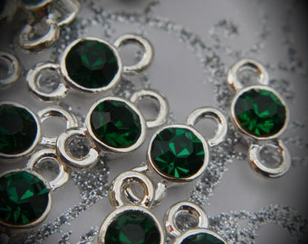 Emerald Genuine Silver Plated Swarovski Crystal Connectors Link T1400