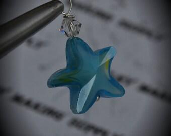 Hand Wire Wrapped Swarovski Crystals Dangle Charm on Silver Plated ball Headpin And Aqua AAA Starfish Glass Beads