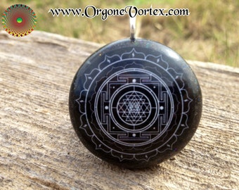 Sri Yantra Mandala Orgone/Orgonite Tesla Pendant- EMF Blocker - Chakra Balancing - FREE Necklace - Hand Made