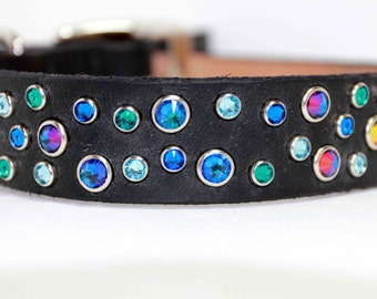 Custom Size Fun Blue Dog Collar, Leather Dog Collar, Swarovski Crystal Dog Collar, Blue Aqua Rhinestone dog Collar
