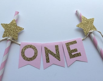 Pink and Gold Cake Topper Personalized with Gold Glitter Star.  1st Birthday Smash Cake.  Personalized Cake Topper, Twinkle Little Star Cake