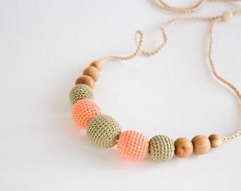 SALE Nursing / Babywearing Necklace, Crochet Teether, Khaki, Peach, Eco-Friendly Jewelry, Teething Jewelry, Vegan - FrejaToys