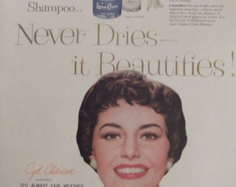 CYD CHARISSE Lustre-Creme Shampoo Original Vintage Advertisement Beauty Movie Star Celebrity Ready To Frame
