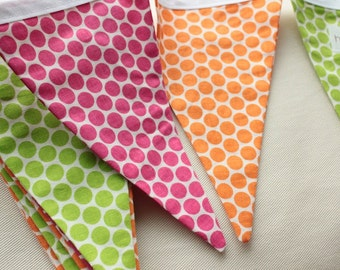 FABRIC BANNER PENNANT / pennant fabric flag banner / flag garland / little girl birthday party decor / lemonade stand / pink orange / 9 feet
