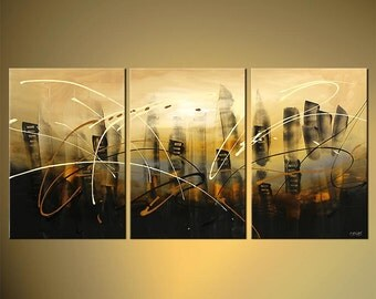 "City Painting Original Abstract Modern Palette Knife Painting In the City Downtown by Osnat - MADE-TO-ORDER - 60""x30"""