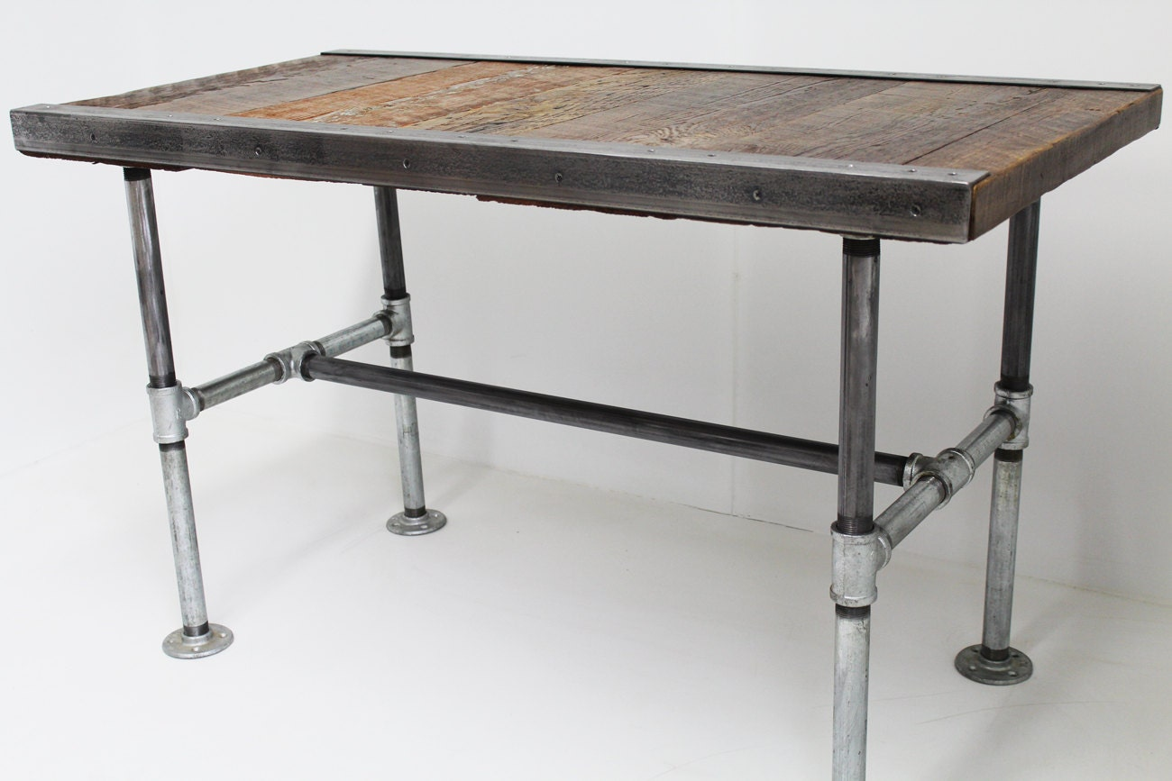 30x60 industrial desk with pipe legs by mthoodwoodworks on