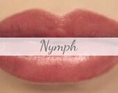 "Vegan Mineral Lipstick Sample - ""Nymph"" (natural semi-sheer burgundy rose color) lip tint, balm, lip colour"