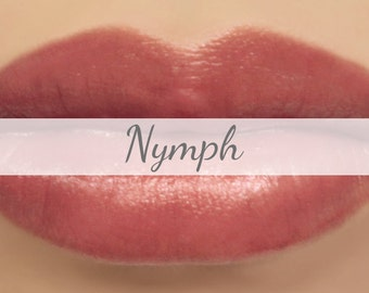 "Vegan Mineral Lipstick Sample - ""Nymph"" (natural semi-sheer burgundy rose color) lip tint, balm, lip colour"