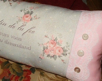 French Charm Cottage Chic Pillow Powder Blue & Pink Roses White Lace and Buttons