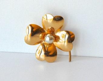 Vintage Signed Coro Gold Dogwood Flower Brooch
